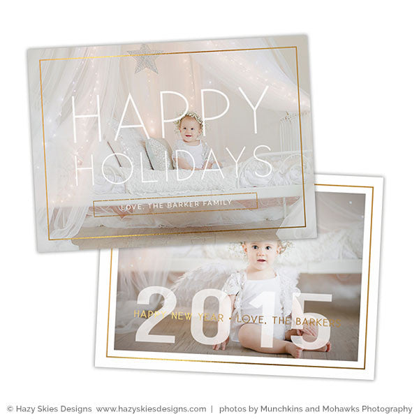 photoshop card template happy holidays new year