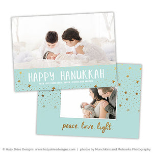 Hanukkah Photoshop Card Template | Peace Love Light