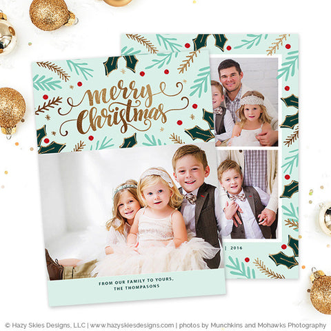 Christmas Card Templates | Merry Mistletoe Collection