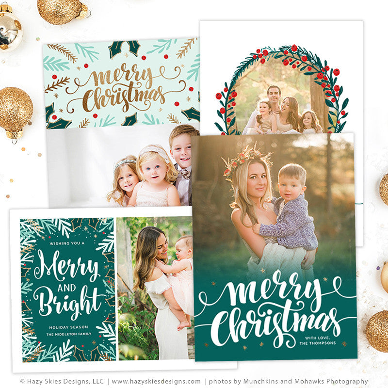 christmas card templates merry mistletoe collection - Photoshop Christmas Card Templates