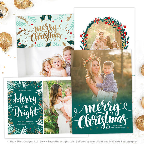 Christmas card templates merry mistletoe collection for Photoshop holiday card templates