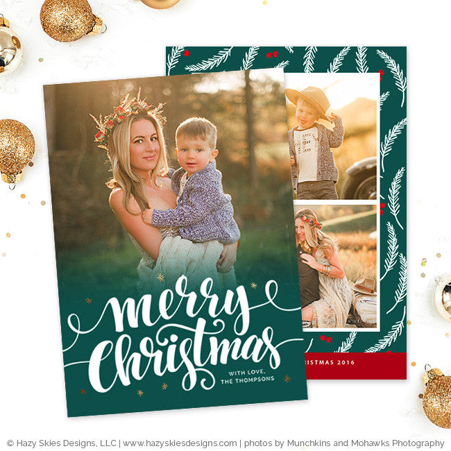 Christmas Card Template for Photographers Calligraphy Holiday Card ...