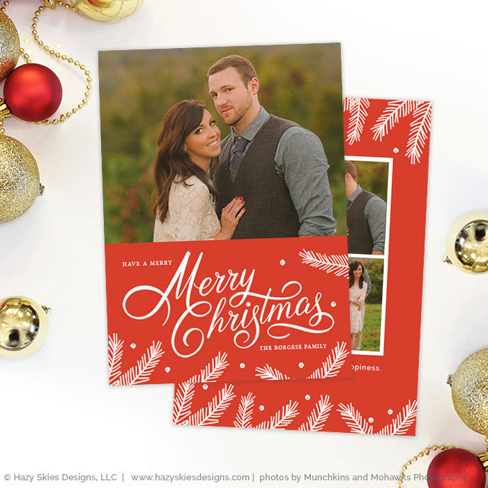 Christmas Card Template Set Photoshop Gold Calligraphy Holiday Cards - Christmas card templates for photographers