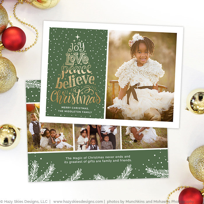 Christmas Card Template Photoshop Gold Typography Holiday Card - Christmas card templates for photographers