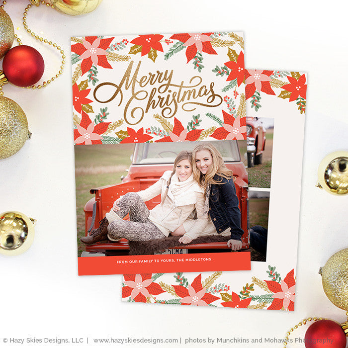 christmas card template photoshop gold calligraphy holiday card
