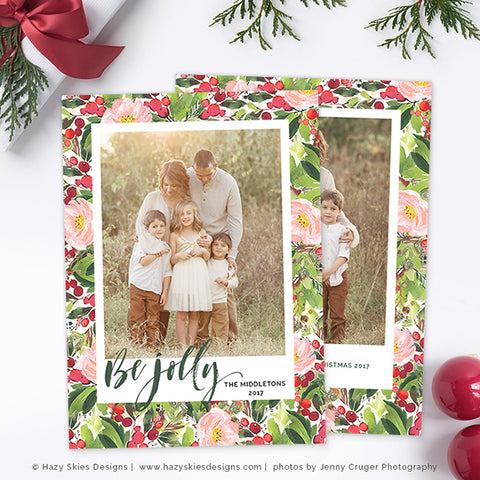 Holiday christmas card template be jolly for Photoshop christmas cards templates