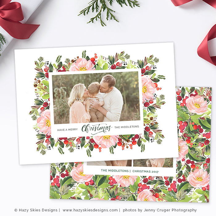 Christmas Photography Template Christmas Photo Card Printable ...