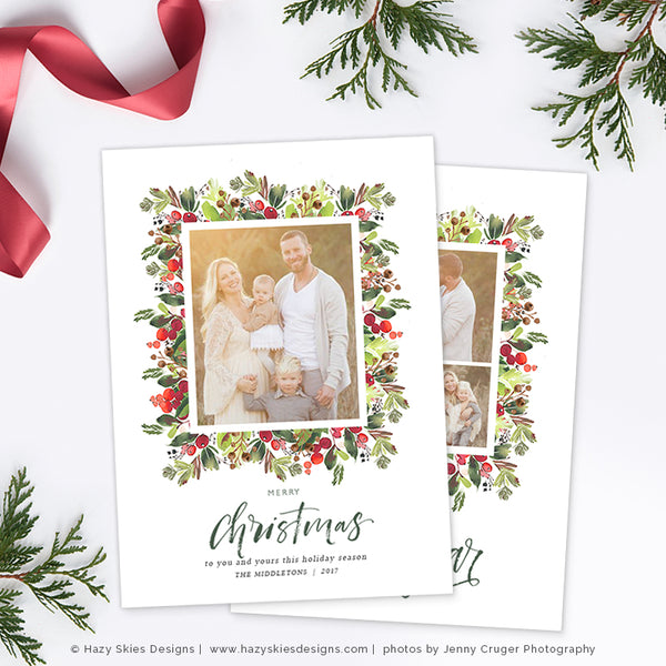 Christmas card template christmas card printable photo card hc312 holiday christmas card template berry christmas m4hsunfo