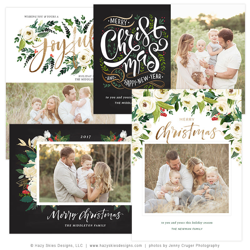 sale holiday christmas card template winter floral collection