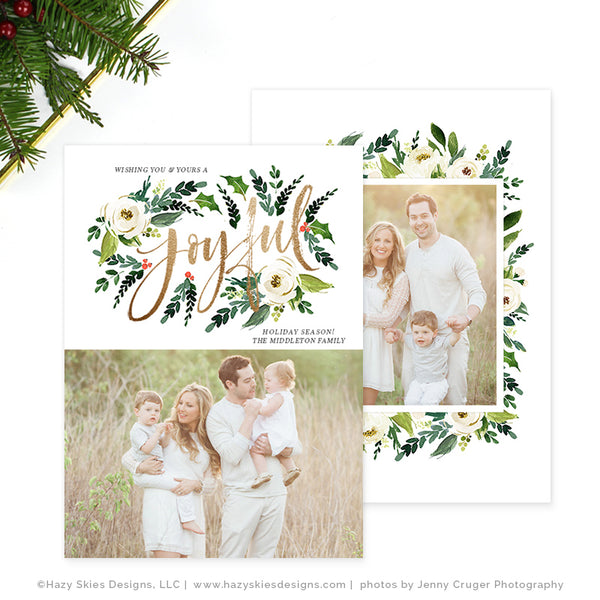 Holiday Christmas Card Template | Winter Floral Collection