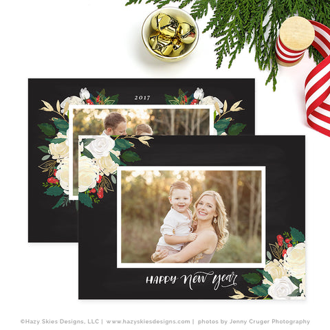 Holiday Christmas Card Template | Winter Floral