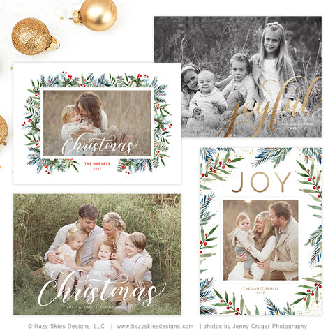 Christmas Card Templates | Winter Berry Collection