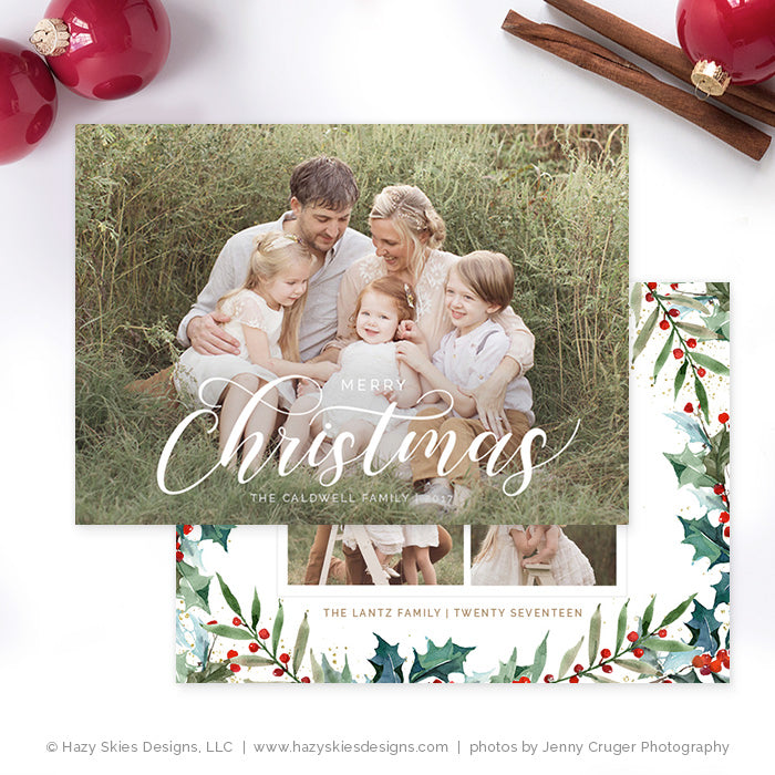Christmas Card Template for Photographers Photoshop Template HC318 ...
