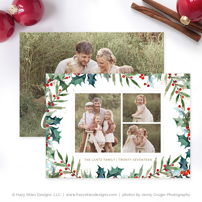christmas card template for photographers photoshop template hc318