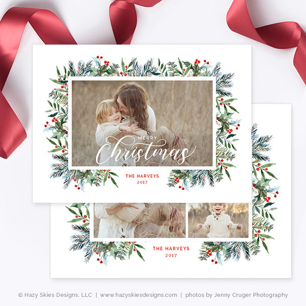 Christmas Card Template | Winter Berry