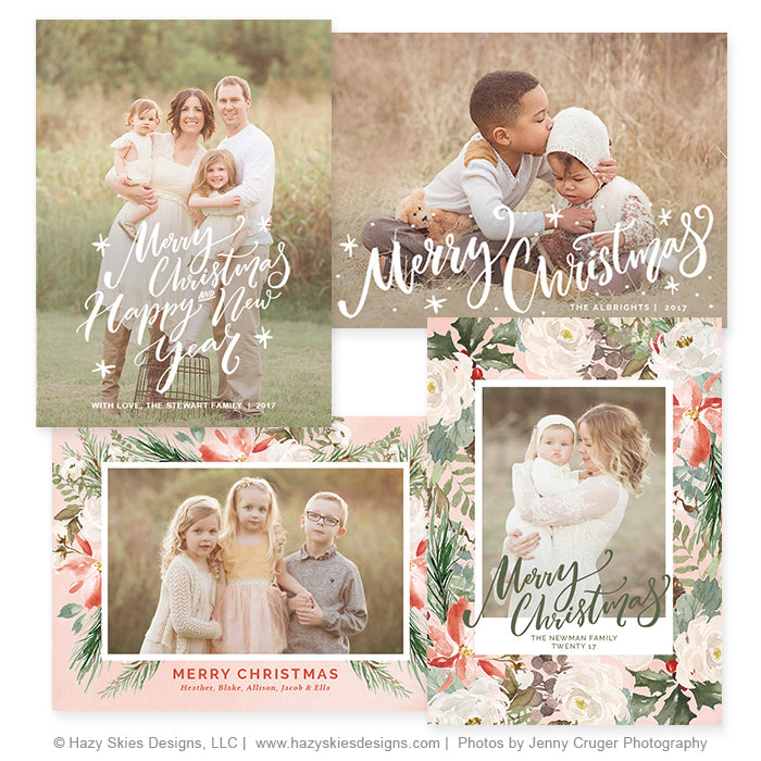 Christmas Photo Card Template Photoshop Christmas Templates HC - Christmas card templates for photographers