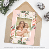 Christmas Card Template | Festive Florals