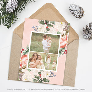 Christmas Card Template | Festive Floral Collection