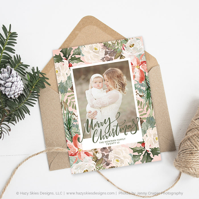 Christmas Card Template | Winter Blossoms