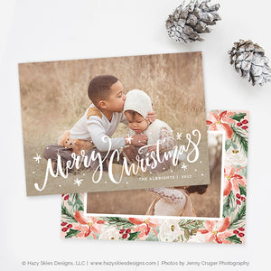 Christmas Card Template | Poinsettias