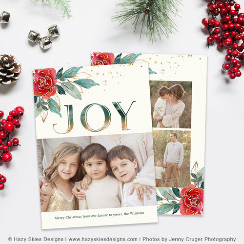 Christmas Card Photoshop Template | Joyful Gem