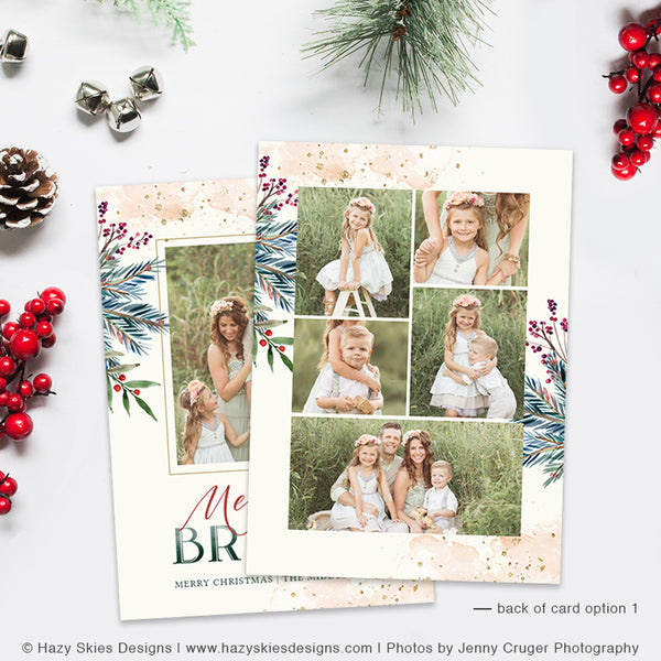 Christmas Card Photoshop Template | Marbled