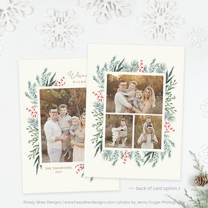 Holiday Card Photoshop Template | Winter Greens