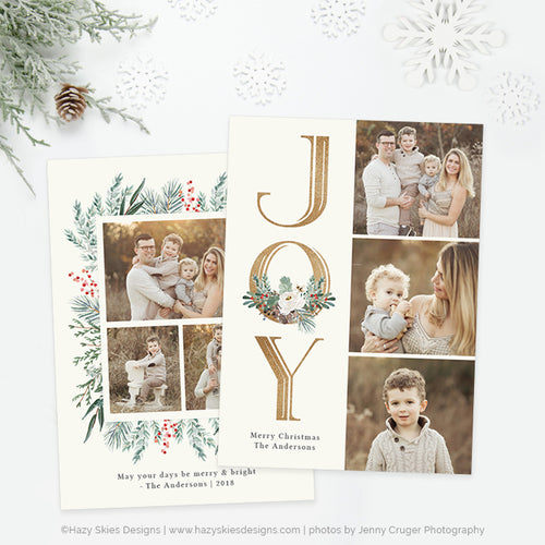 Christmas Card Photoshop Template | Winter Centerpiece