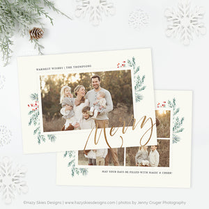 Holiday Card Photoshop Template | Winter Pine