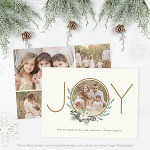Holiday Card Photoshop Template | Winter Foliage