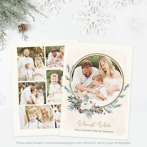 Holiday Card Photoshop Template | Frosted Winter