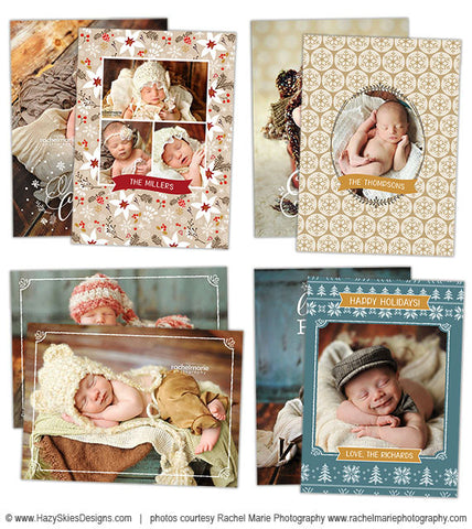 Christmas Card Templates for Photoshop  | Photo Overlay Cards