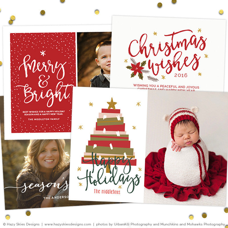 DIgital Christmas Card Templates for Photoshop HC8891 – Photoshop ...