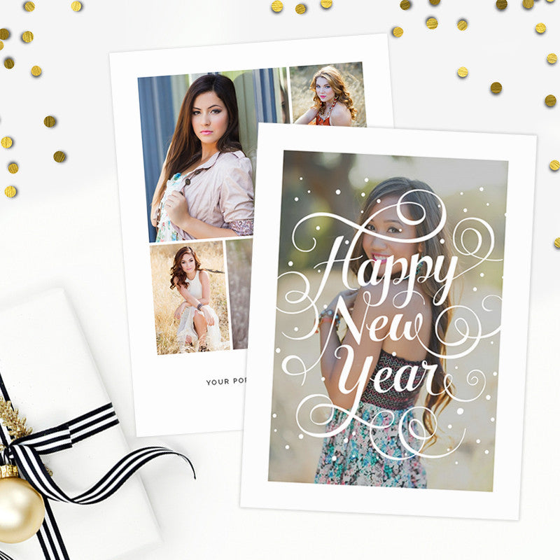New Years Card Template Photoshop Studio Greeting Cards ...