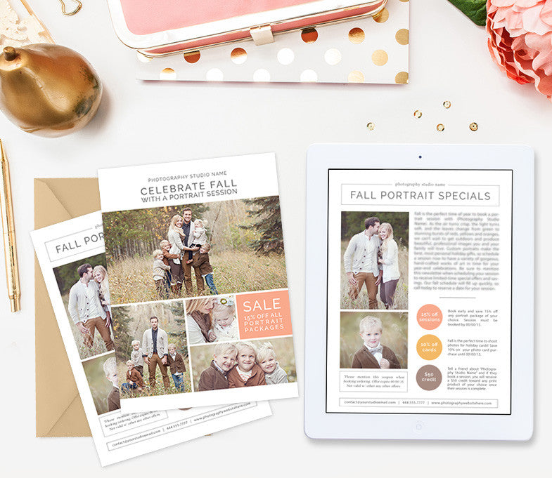 fall newsletter template for photographers marketing photoshop