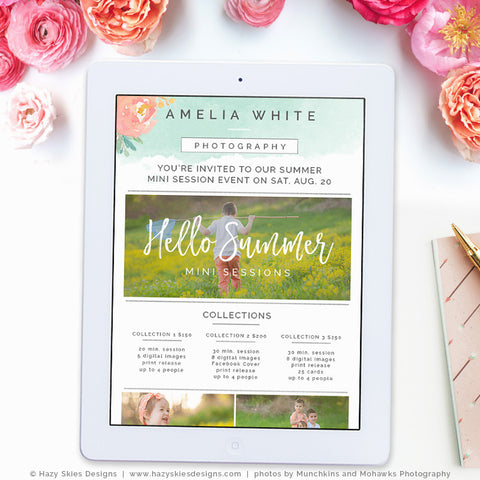 Summer Mini Session Newsletter | Watercolor Summer