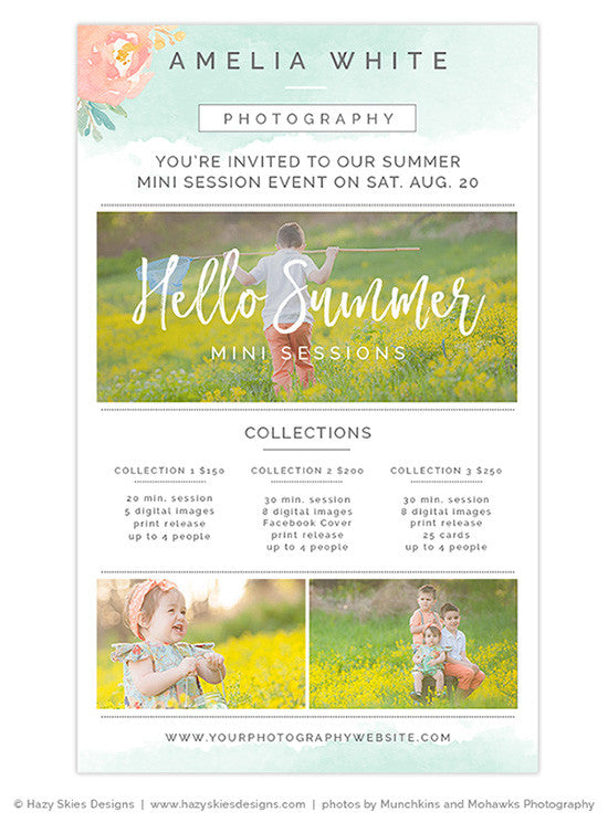 summer mini session newsletter template mini session marketing board