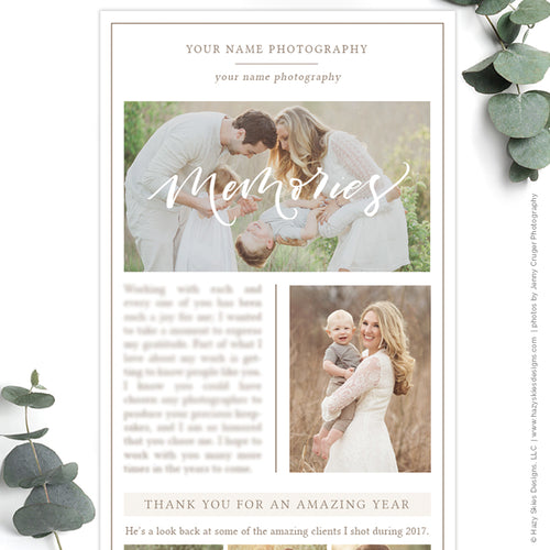 Photography Email Newsletter Template | Year in review