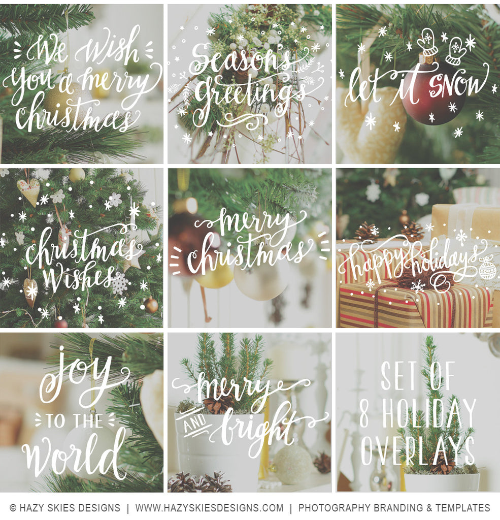 Holiday Photo Overlays Calligraphy Doodles Photoshop Templates