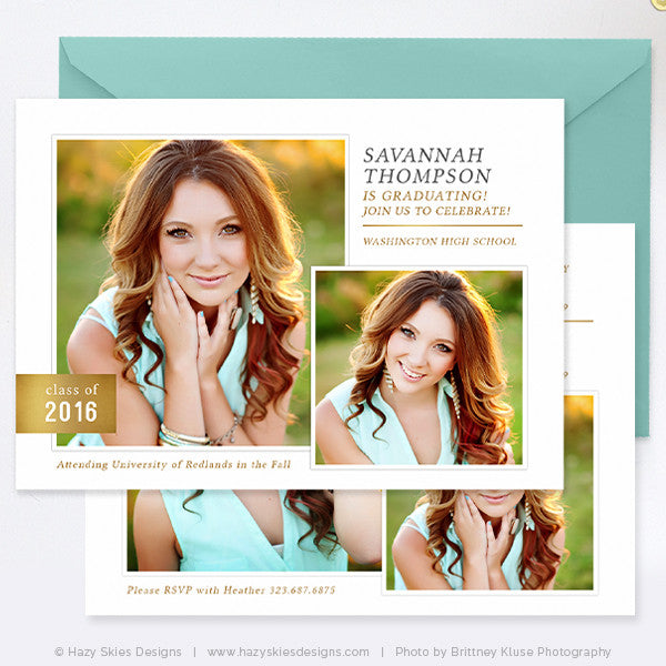 Senior Graduation Announcements 2015 2016 Templates – Photoshop