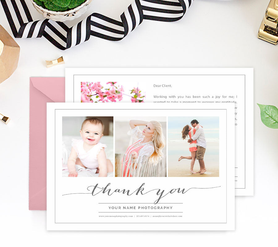 Thank You Card Template For Photographers Photoshop  Photoshop
