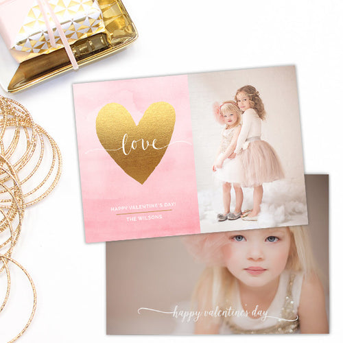 Valentine's Day Photoshop Card Template | Gold Heart