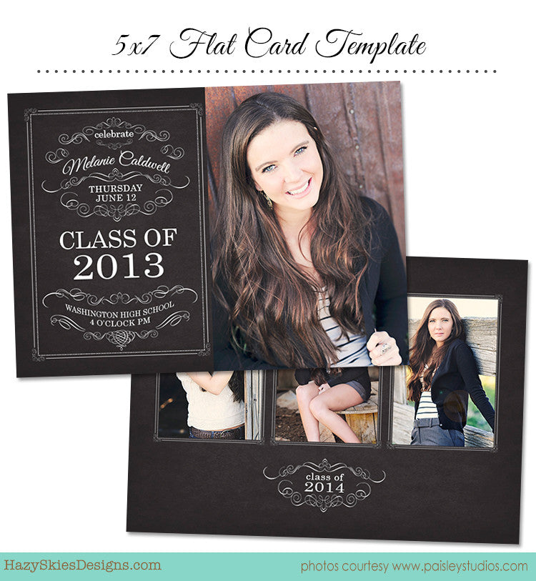 Graduation Card Template For Photographers  Photoshop Templates For