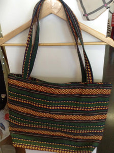 Striped Green and black medium beach bag