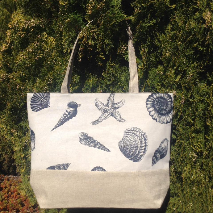 White Bag with sea shells  New Stock