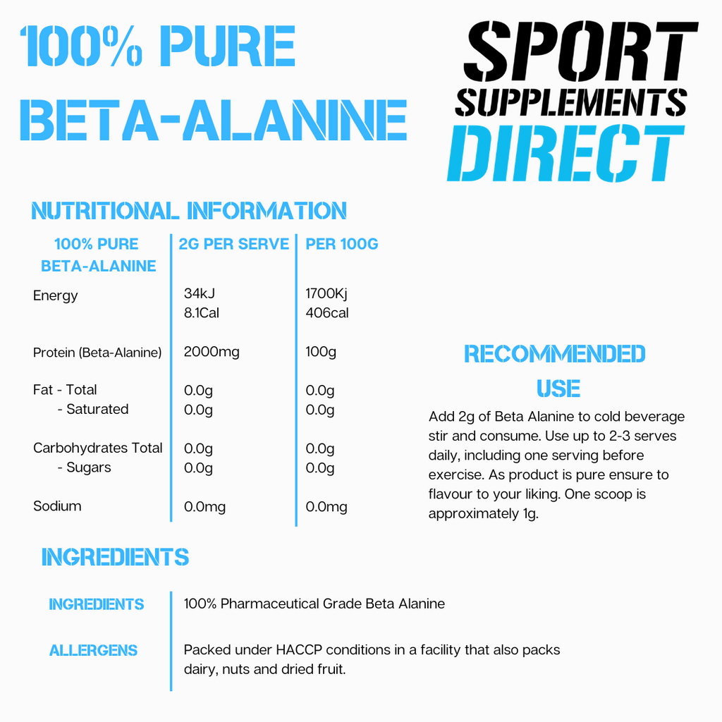 100% PURE INSTANTISED BETA ALANINE
