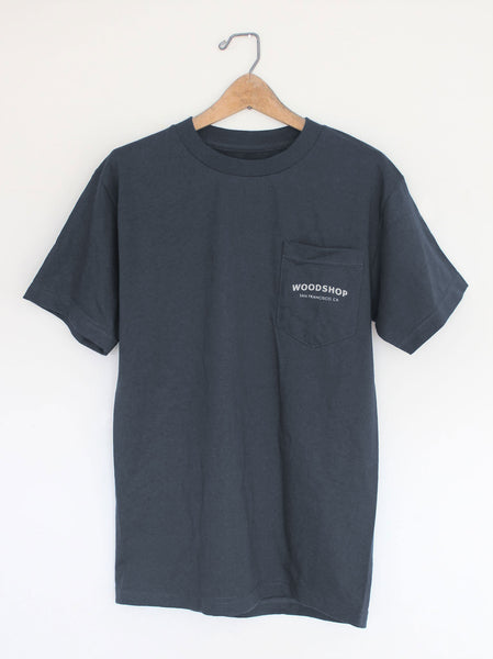 Woodshop Logo pocket t-shirt (Petrol Blue)