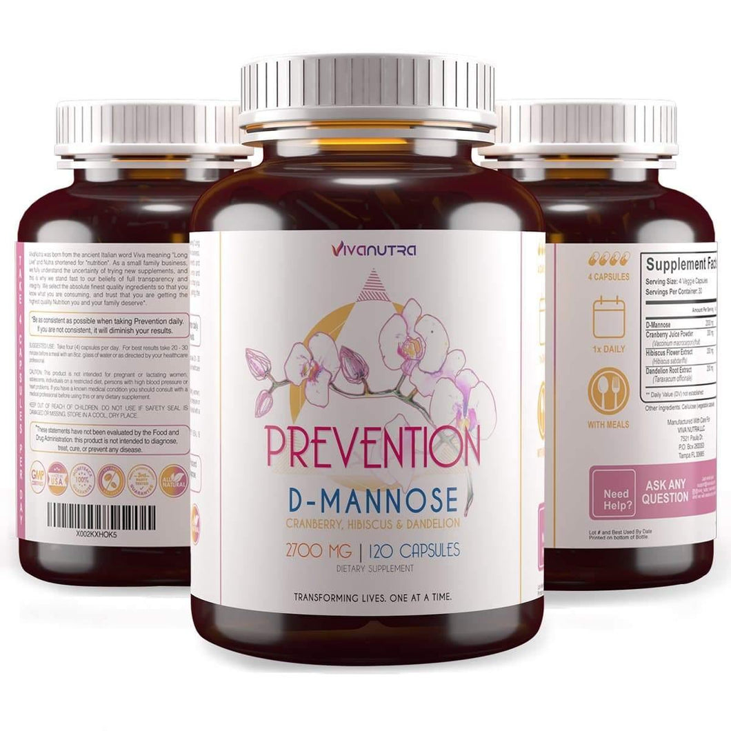 Prevention D Mannose Capsules 2000 MG - with Cranberry Pills for Urinary Tract Infection - Fast-Acting Pills for Bladder Health, UTI, Flush Impurities, d-mannose 4-in-1 Formula for Men and Women 120CT