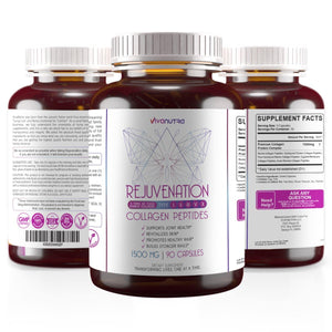 Rejuvenation Multi Collagen Peptides (Types I, II, III, V & X) - Collagen Peptides + Absorption Enhancer - Grass Fed Collagen Protein Blend for Anti-Aging, Hair, Skin, Nails and Joints