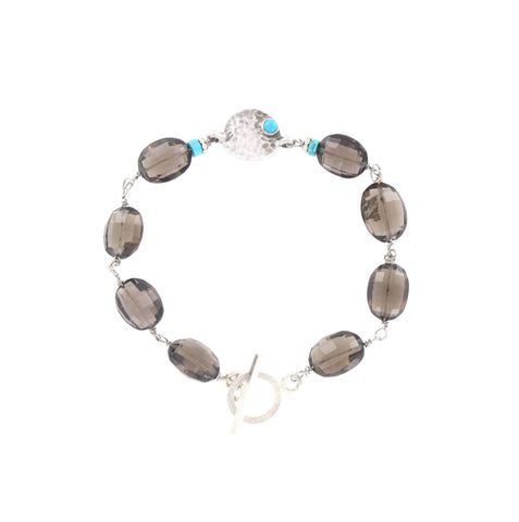 Faceted Smokey Quartz and Turquoise Bracelet